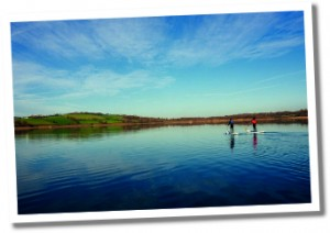 Llandegfedd reservoir stand-up paddle boarding