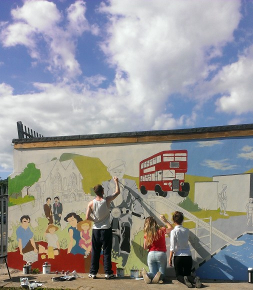 Painting the mural abergavenny